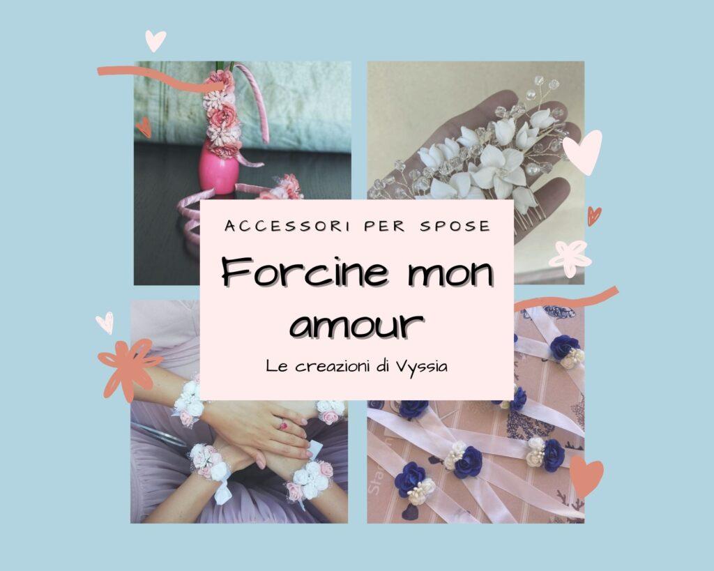 Forcine mon amour: accessori floreali per spose in seta e stoffa