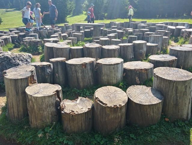 Panaraida a Santa Cristina in Val Gardena: labirinto di tronchi